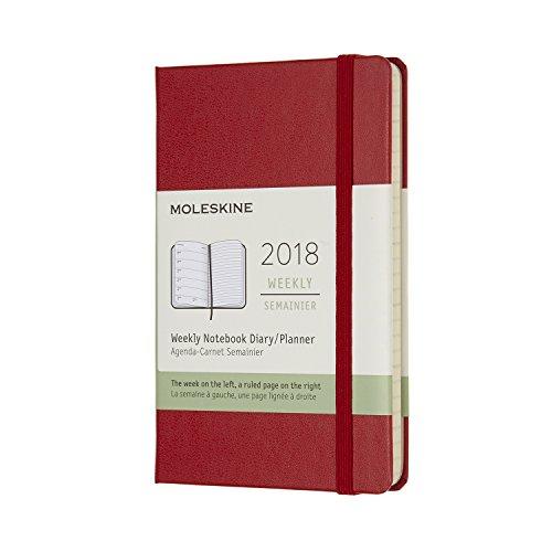 Moleskine 12 Month Weekly Planner, Pocket, Scarlet Red, Hard Cover (3.5 x 5.5)