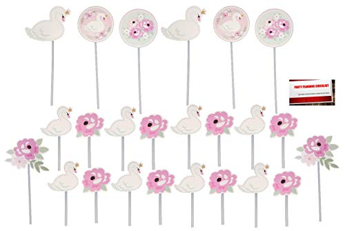 Amscan Sweet Little Cupcake - Pink Sweet Swan Cake Cupcake Toppers (24 Pack)(Plus Party Planning Checklist by Mikes Super Store)