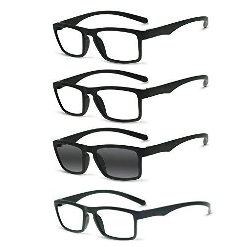 OCCI CHIARI Reading Glasses Readers TR90 Women Men Prescription Eyeglasses Computer Eyewear 100 150 200 250 300 350 400 (4 Pack Includes 1 Sunglasses)