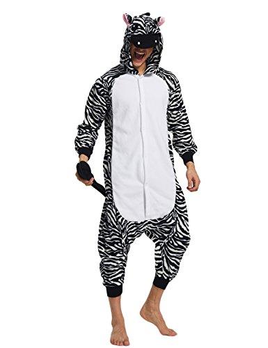 Costume Zebra Adults (KING FUN Animal Cosplay Costume Unisex Adult zebra Pajamas Onesies Sleepwear Extra Large)