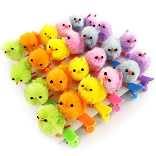 (Bstaofy 1.5'' Mini Easter Chicken on Clips Cute Hairpin for Girls Seasonal Garden Decoration Tiny Plush Ornaments, Multicoloured Pack of 24)