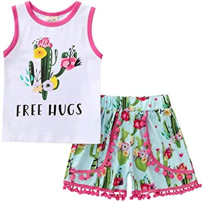 Baby Kids Girls Summer Outfits Set T-shirt Tank Tops Long Pants Clothes Suits