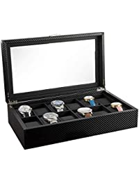 Watch Box- Display Case & Organizer For Men| First-Class Jewelry Watch Holder| 12 Watch Slots| Sleek Black Color, Glass Top, Carbon Fiber, Faux Leather