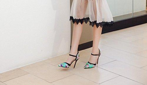Heel punta básica dos hebilla de carrera oficina y piezas PU primavera para Zapatos mujer verano bomba Blue Heels y Stiletto D'Orsay charol estrecha 6vwvqZx0