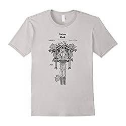 Mens Vintage Cuckoo Clock Shirt - German Black Forest Germany Tee Small Silver