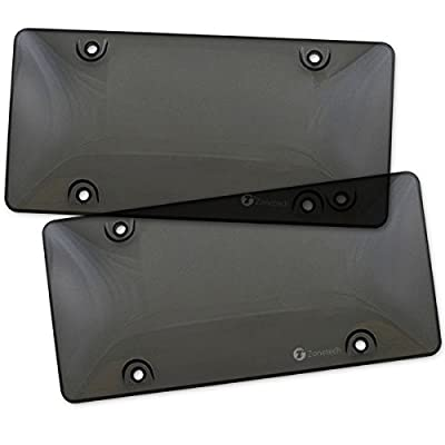 Zone Tech Clear Smoked License Plate Shields - 2-Pack Novelty/License Plate Clear Smoked Bubble Shields