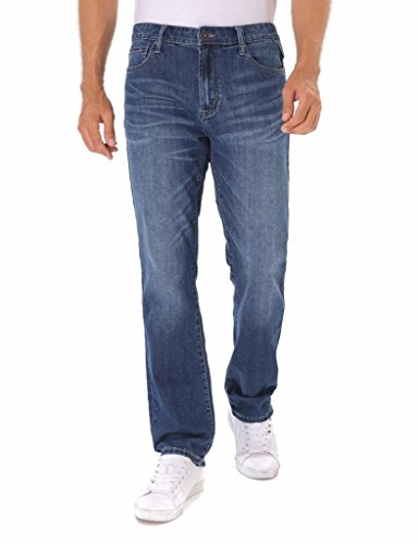 Indigo alpha Classic Straight Fit Men's Medium/Dark Blue Stonewash Denim Jeans With Lycra & Tencel(8015,W34/L32) (Stonewash Jean Jacket Men)
