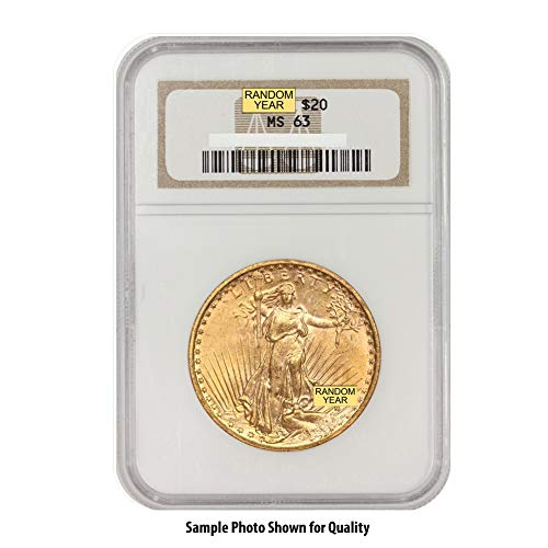 1908 (Random Year) Gold Saint Gaudens Coin $20 MS62 NGC