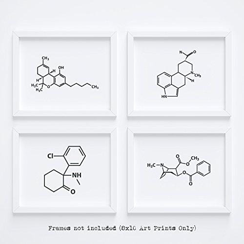Price comparison product image Clean,  Friendly,  & Fun Molecule Drug Wall Art Home Decor - Marijuana Cocaine Lsd Ketamine Decoration Accessories Poster for Framing