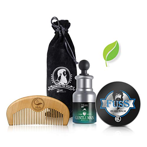 Deluxe Beard Growth Kit. Best Beard Grooming Kit and Gift for Beard Men. Made with Natural and Organic Ingredients. Bearded Gentlemans Kit Contains-Organic Beard Oil, Beard Balm Fuss, Beard Comb Gen