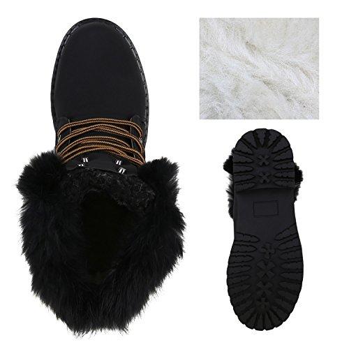 Stiefelparadies Warm Gefütterte Damen Stiefeletten Fell Outdoor Boots Winterschuhe Flandell Schwarz Dark