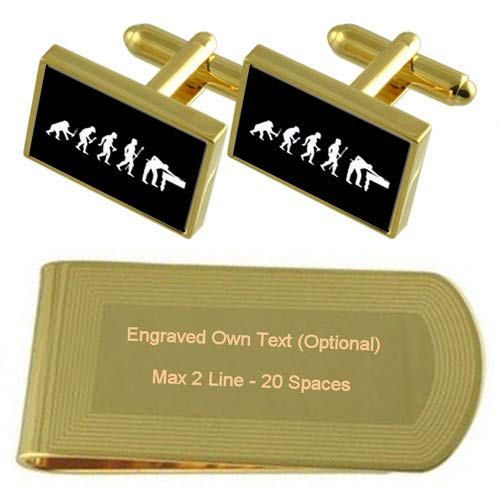 Evolution Ape to Man Snooker Pool Gold-tone Cufflinks Money Clip Engraved Gift Set