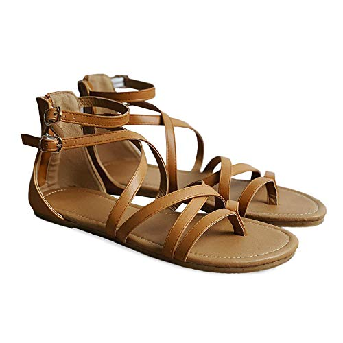 (LKai Womens Gladiator Strappy Flat Open Toe Lace Up Criss Cross Strap Ankle Wrap Sandals Buckle Zip Thong Sandal (10, Brown))