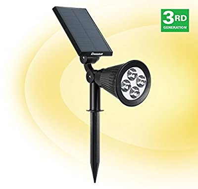 HumaBuilt Solar Powered Garden Spotlight - Outdoor Spot Light for Walkways, Landcaping, Security, Etc.