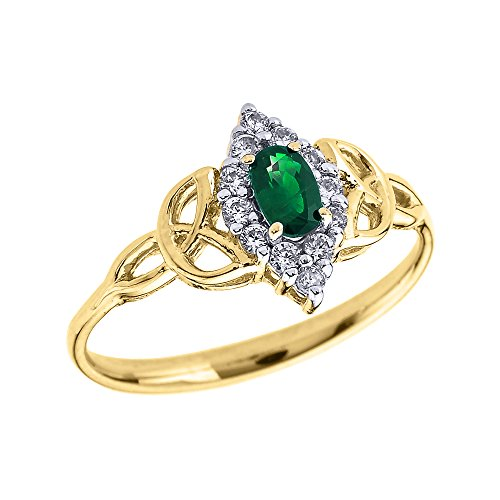 Oval Emerald and Diamond 10k Yellow Gold Trinity Knot Proposal Ring (Size 6.5)