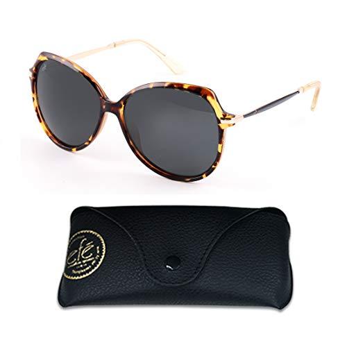 EFE Womens Classic Oversized Polarized Sunglasses, Fashion Butterfly Shaded Eyewear with Composite Frame & Case, 100% UV400 Protection - Frame Light Grey Shaded Lenses