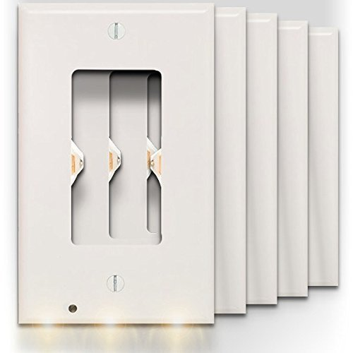 SnapPower Guidelight - Outlet Wall Plate With LED Night Lights - No Batteries Or Wires - Installs In Seconds - (Décor, White) (5 Pack) (Outlet Decor)