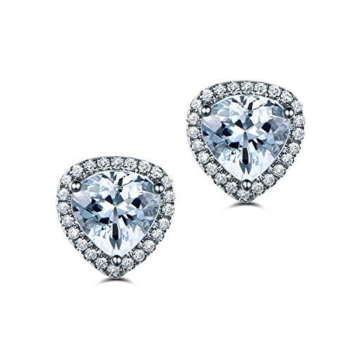 AmDxD Jewellery 925 Sterling Silver Stud Earrings for Women Blue Triangle Cut Topaz Triangle Earring