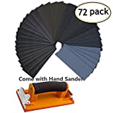 Hand Sander Sandpaper,Bagvhandbagro 72PCS 400 To 3000 Grit Wet Dry Sandpaper With 1 Hand Sander For Wood Furniture Finishing, Metal Sanding and Automotive Polishing