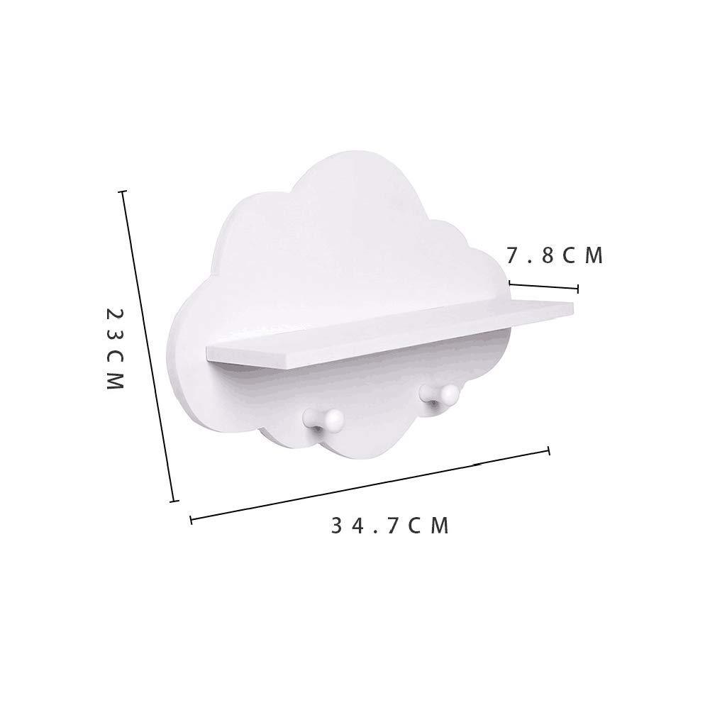 Forma 1pcs Nuvola Di Legno Stoccaggio Galleggiante Mensola Di Montaggio a Parete Gancio Holder Archiviazione Per La Decorazione Domestica Bianco