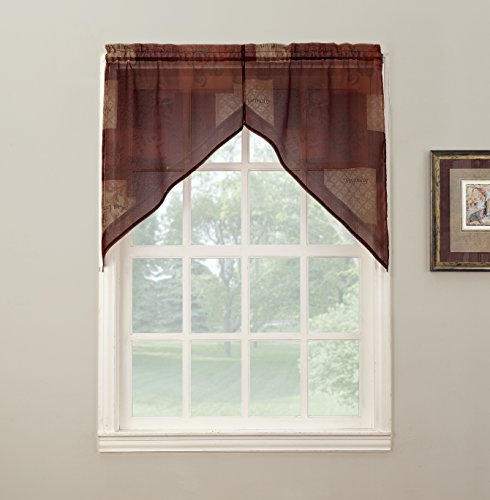 No. 918 Eden Inspirational Theme Kitchen Curtain Swag Pair, 56