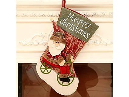 XDXDWEWERT Adornos de Navidad Santa Claus Riding A Bike Calcetines de Navidad Bolsa de Dulces Bolsa