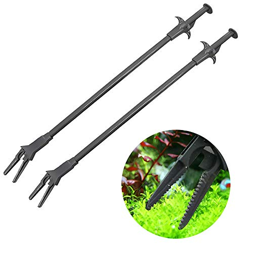 PIVBY Aquarium Tongs Fish Tank Clip Plants for Fresh and Saltwater, Spot Feed Fish and Coral, Keep Hands Dry and Tank Free from Contamination Pack of 2