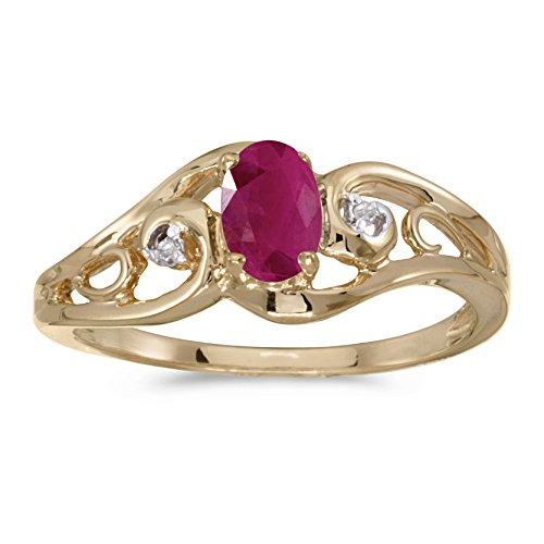 0.36 Carat (ctw) 10k Yellow Gold Oval Red Ruby and Diamond Accent Swirl Filigree Bypass Fashion Promise Ring (6 x 4 MM) - Size 5