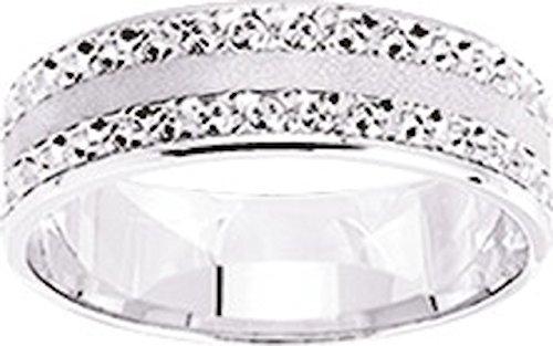 YARRA - www.diamants-perles.com - Alliance mat et diamantée - Mariage - Or Blanc 750/1000 - 18 carats - Largeur 6 mm
