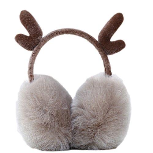 Freedi Women Earmuffs Faux Reindeer Ear Warmers Winter