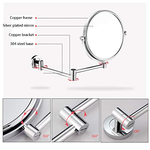 Bathroom Wall-mounted HD Makeup Mirror Toilet Wall Hanging Foldable Telescopic Double-sided Magnifying Beauty Vanity Mirror (Color : Stainless steel) by Wall-mounted Folding Mirror (Image #2)