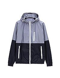 SODIAL(R) Spring Autumn new men's sports jacket hooded Outdoor jacket Men Fashion Thin Windbreaker Zipper Coats Outwear Gray XL