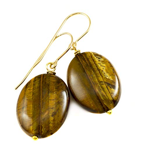 (14k Gold Filled Tiger's Eye Earrings Oval Drops Golden Banded Stripes Simple Dangles Goldtone Accents)