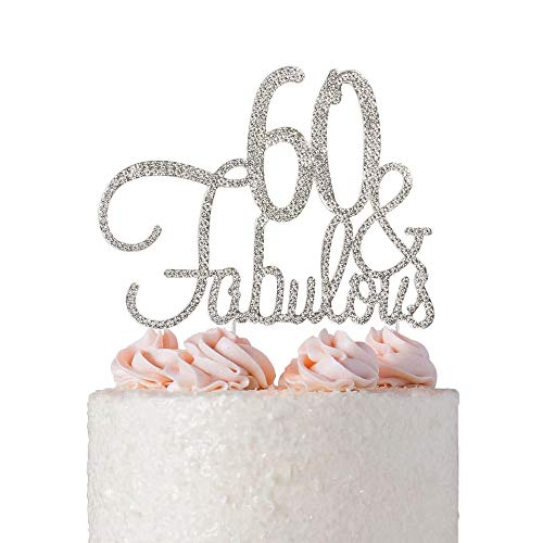 60 Fabulous Birthday Cake Topper Silver