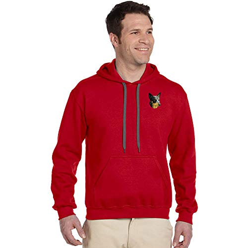 Cherrybrook Breed Embroidered Mens Gildan Pullover Hoodie - X-Large - Red - Australian Cattle ()