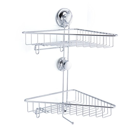 Powerful Vacuum Suction Cup Double Tier Shower Caddy Basket for Shampoo - Combo Organizer Basket with Hooks, Holder for Bathroom Storage