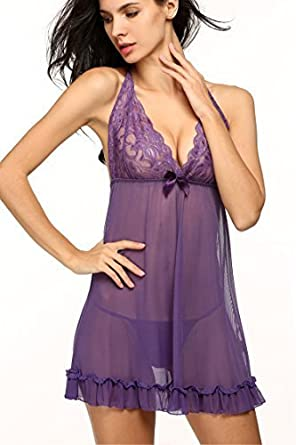 fb7df4b8a864a7 Yoliki Damen Reizwäsche mit G String Spitzen Babydoll Lingerie Sexy  Negligee Erotik Dessous - Verlock ihn