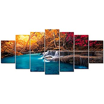 Visual Art Decor Xlarge 7 Pieces Blue Lake Waterfall in Red Fall Forest Picture Wall Art Nature Landscape Giclee Canvas Prints Ready to Hang for Modern Living Room Bedroom Office Decoration (7 Pieces)
