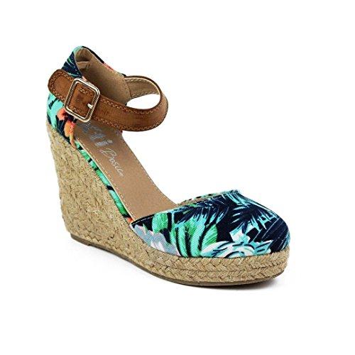 Sandalia de XTI Flor textil azul
