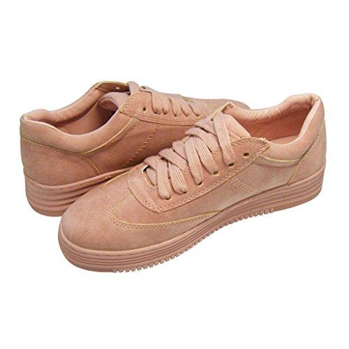 Antiordin Vrouwen Lederen Sneakers Dikke Zool Trainers Schoenen Roze