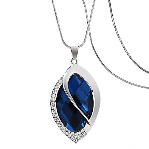 Crystal Oval Pendant Necklace (Nataliya Drop Pendant Long Necklace (blue crystal oval pendant necklace))