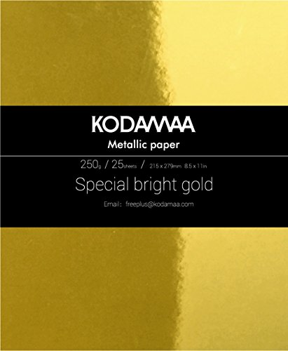 KODAMAA Premium Shimmer Art Craft Gold/Silver Metallic Paper, Multipurpose Cardstock Perfect for Festival Crafting, Printing, Gift Packaging (25 Sheets) by KODAMAA