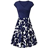 Vintage Sleeveless Dress, Bestoppen Women Cross V- Neck Party Dress Elegant Flared A-Line Dress Evening Party Dress Casual A Line Flower Dresses for Lady Dark Blue