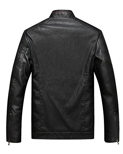 Exteriores ZhuiKun Vestir Chaqueta Hombre Cremallera Cierre Negro Vintage de Cuero para Estilo De Prendas con rBFrqO