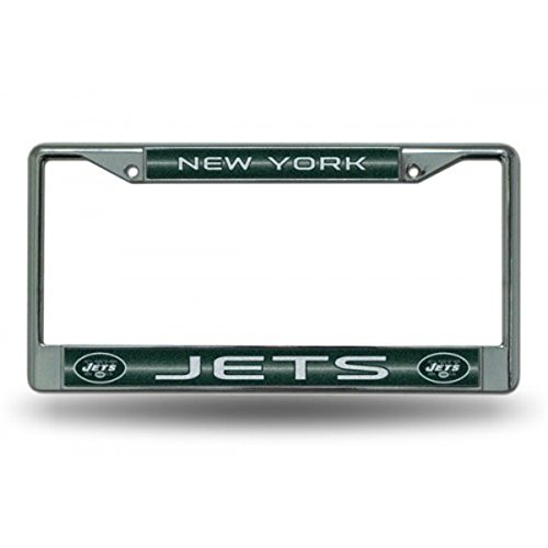 (NFL New York Jets Bling Chrome License Plate Frame with Glitter Accent)