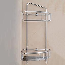 STERNBERG 2-Tier Shelf Bathroom Corner Rack Storage Basket with Hook,Brushed Chrome