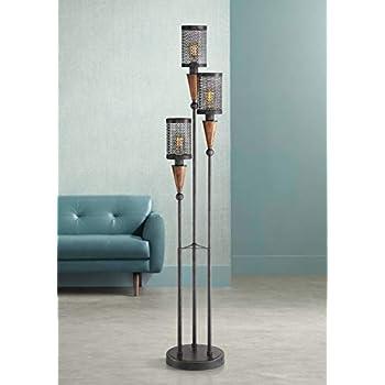 Modern Industrial Floor Lamp Rustic Metal Cage Dimmable 3