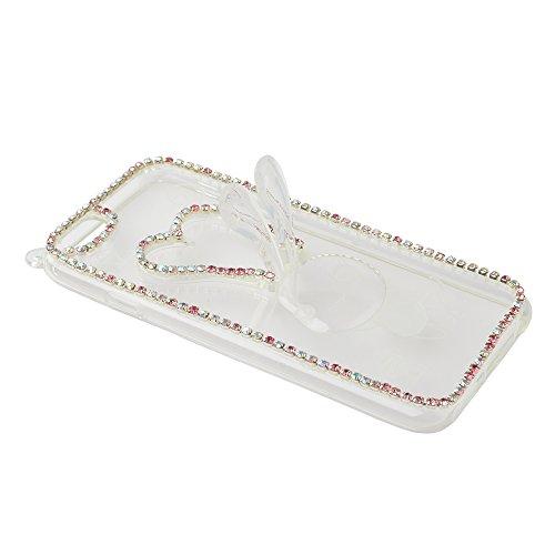 EVTECH (TM) pour iPhone 6 4.7 pouces de presse sur 2014 Handmade Mode 3D cristal strass Bling Hard Cover Case Clear Case (100% artisanale)