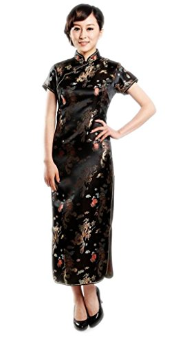 JTC(TM) Women's Dragon and Phoenix Print Long Cheongsam Dress Black (L) by Jtc (Image #1)'