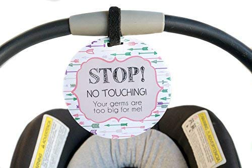 Pink Arrow Tag - Stop! No Touching! Your Germs Are Too Big For Me!